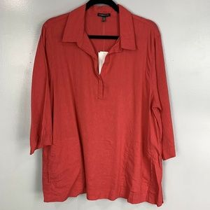 Eileen Fisher Linen Blend 3/4 Sleeve Popover NWT